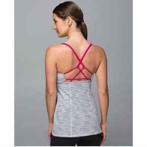 Lululemon Dancing Warrior Tank Top Gray Pink